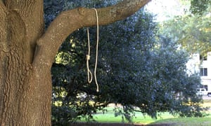 Officials said the nooses and signs were found on Monday shortly before 8am, on the south side of the grounds.