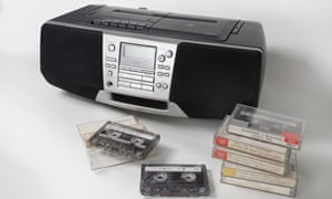 A boombox and cassette tapes