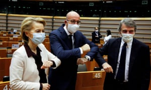 Ursula von der Leyen, Charles Michel and David-Maria Sassoli greet each other with an elbow bump. (Photograph: Francois Walschaerts/Pool via REUTERS     TPX IMAGES OF THE DAY)
