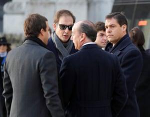 Franco's great-grandson Luis Alfonso de Borbón Martínez-Bordiú (R) chats with other relatives