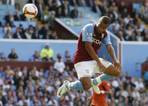 Gabby Agbonlahor scores for Aston Villa against Manchester City in August 2008.