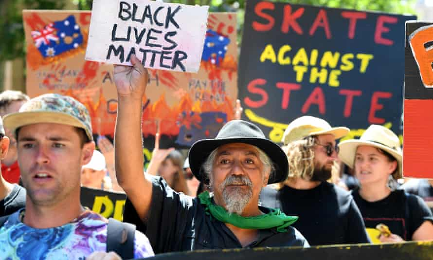 Protesters at the 2020 Invasion Day rally in Melbourne