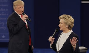 Republican presidential nominee Donald Trump and Democratic presidential nominee Hillary Clinton speak during the second presidential debate at Washington University in St. Louis.