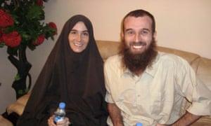 Amanda Lindhout and Nigel Brennan in Mogadishu, Somalia, after their release, November 2009
