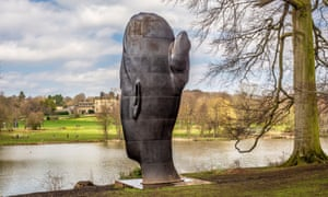 the seven-metre tall Wilsis, by Jaume Plensa, at Yorkshire Sculpture Park.