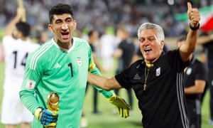 The goalkeeper Alireza Beiranvand celebrates Iran's World Cup qualification. His father disapproved of football and tore Alireza's clothes and gloves.