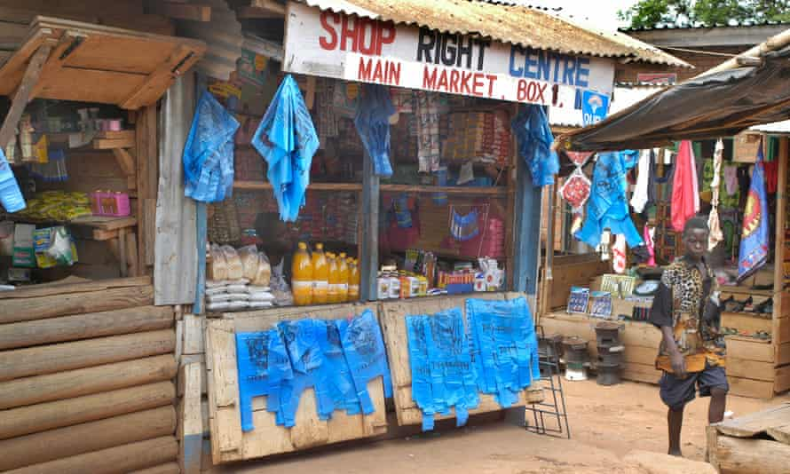 A market market booth in Mzuzu, Malawi
