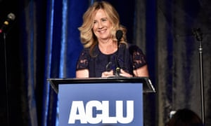 Dr Christine Blasey Ford accepting an award from the American Civil Liberties Union of Southern California in Beverly Hills on Sunday night.