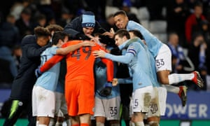 Manchester City's enjoy the moment after beating Leicester 3-1 on penalties to reach the Carabao Cup semi-finals.