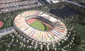 An artist's impression of the Alexander Stadium in Birmingham, home of the British championships and which after an upgrade will house around 40,000 spectators.