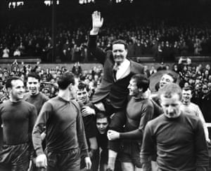 Celtic manager Jock Stein (top) is chaired onto the pitch by the players before the final match of the 1966/67 League season