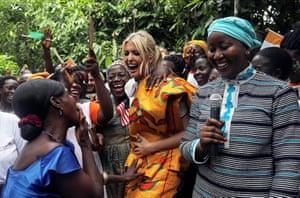 Adzope, Ivory CoastWhite House Advisor Ivanka Trump dances as she meets women entrepreneurs, at the demonstration cocoa farm.
