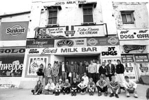 Cronulla Boardriders in front of Joe's Milk Bar, 1996