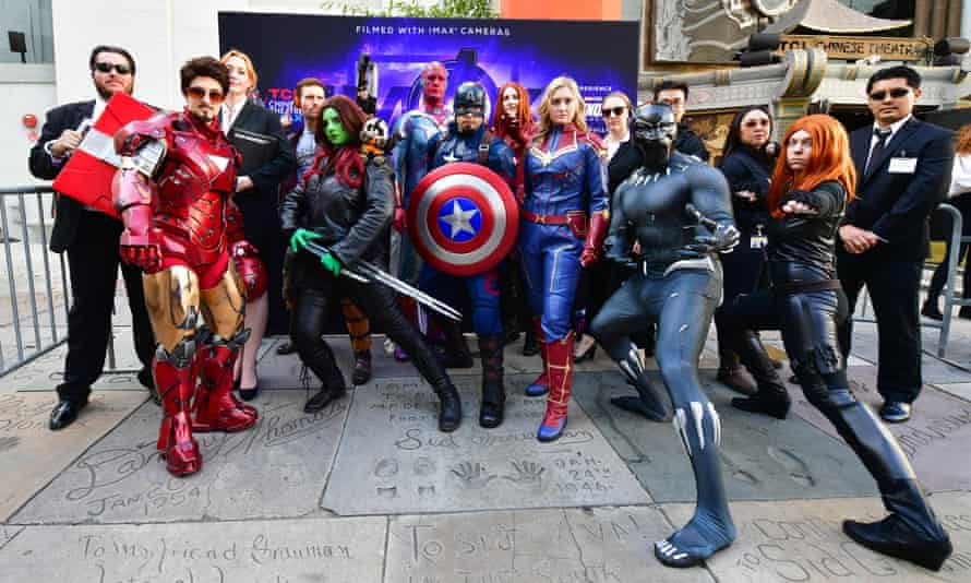 Fans of the Avengers take part in a costume contest before the public premiere of Endgame at the TCL Chinese Theater in Hollywood, California.