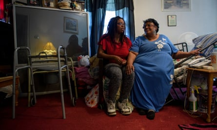 Henrietta Banks (right) and her daughter Nicole discuss the fallout of the closure of the Walmart in McDowell County.
