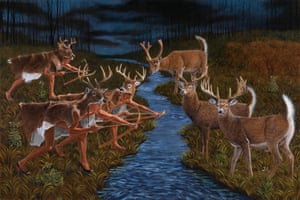 Stag Hunting (After Theodor de Bry), 2018, by Kent Monkman. Photograph: Joseph Hartman
