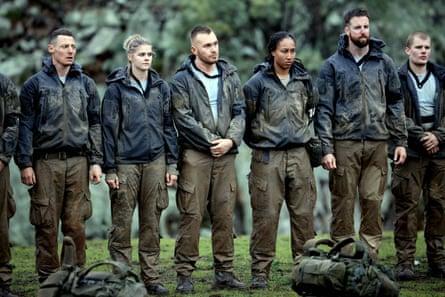 a line-up of muddy celebrities