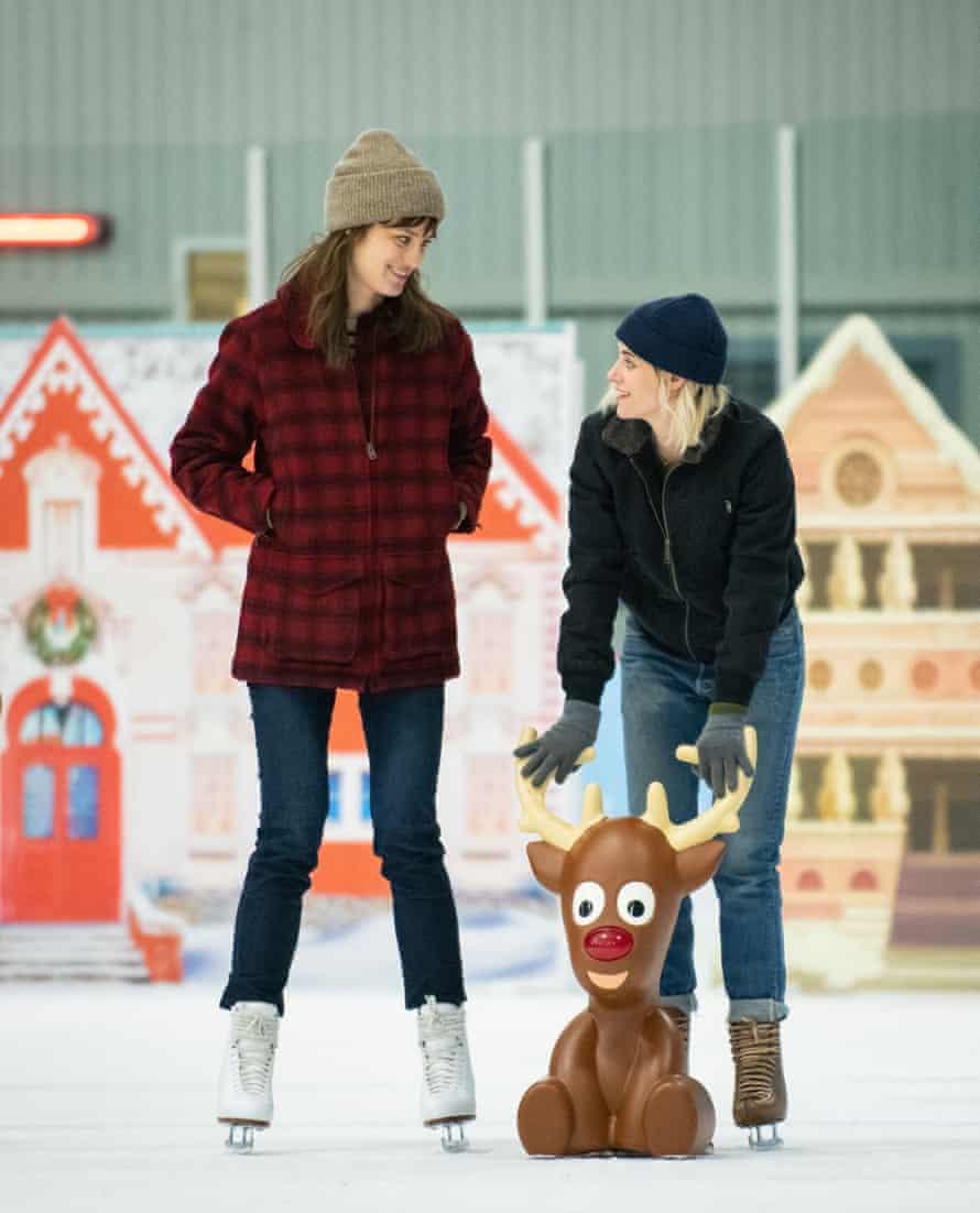 Progress ... Kristen Stewart and Mackenzie Davis in Happiest Season.