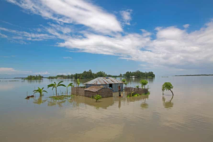 House sinks in flooded area of Lalmonirhat, Bangladesh