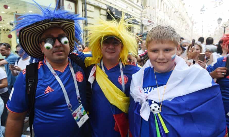 Russia and Colombia soccer fans in Nikolskaya Street, Moscow