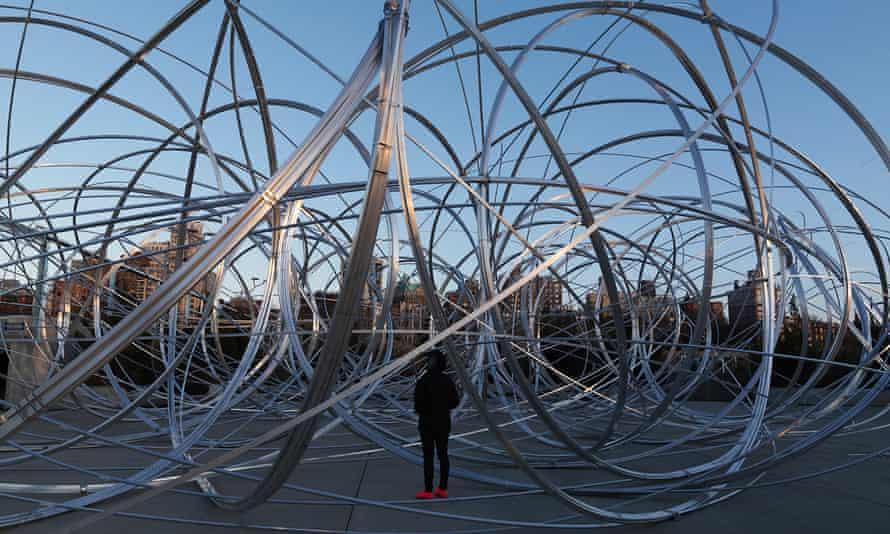 Antony Gormley's New York Clearing (2020) located on Pier 3 in Brooklyn Bridge Park.
