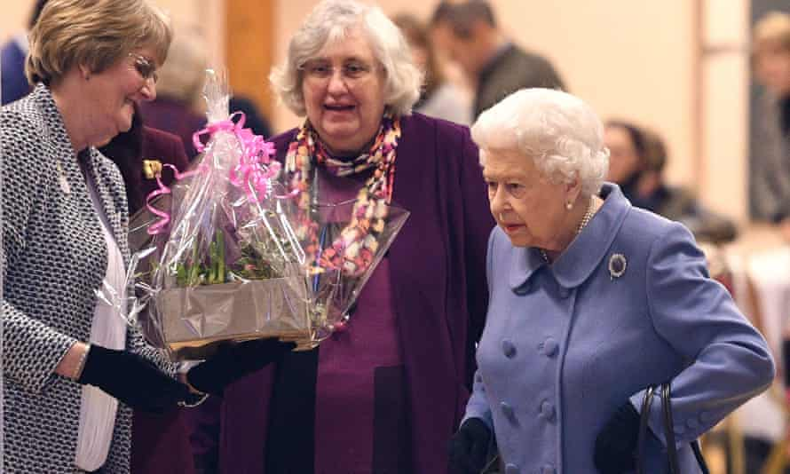 The Queen with Women's Institute members at West Newton village hall in Norfolk.