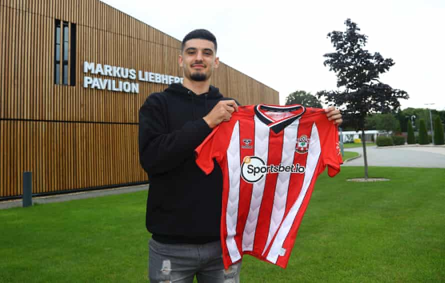Armando Broja at Southampton's training ground after signing on loan from Chelsea.