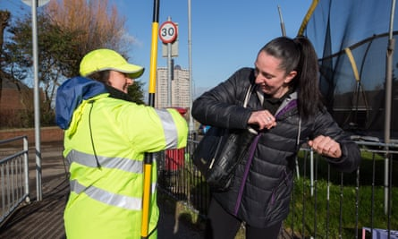 One last elbow-tap at a school crossing in Glasgow before nationwide closures.