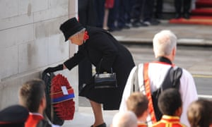 The Queen laying a wreath at the Cenotaph in Whitehall, London, on Remembrance Sunday last year.