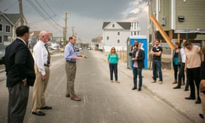 finalists visit a site in Milford, Connecticut, where locals explained how the storm affected the area