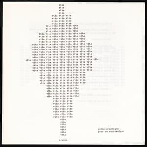 Vite (Fast), 1961, by Henri Chopin (1922–2008). From Le Dernier Roman du Monde: Histoire d'un Chef-Occidental Ou Oriental (Wetteren, Belgium, 1970)