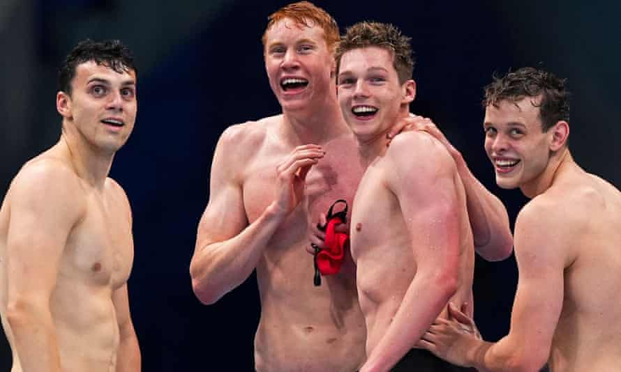 (From left to right) James Guy, Tom Dean, Duncan Scott and Matthew Richards after Team GB won the gold medal in the men's 4x200m freestyle relay at the Tokyo 2020 Olympic Games.