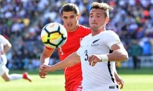 New Zealand's Declan Wynne controls the ball against Peru at Westpac Stadium in Wellington.