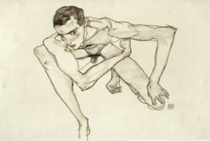Self Portrait in Crouching Position, 1913 by Egon Schiele.