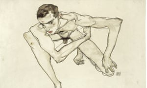 Self Portrait in Crouching Position (1913) by Egon Schiele, on show at Tate Liverpool.