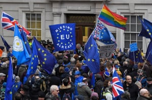 Remainers outside Europe House in Smith Square, London