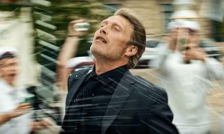 Mads Mikkelsen in a blurred scene from Another Round