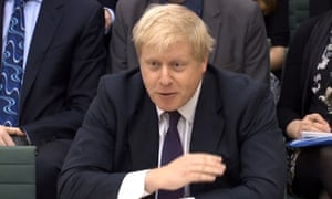 Boris Johnson gives evidence to the Treasury committee in the House of Commons