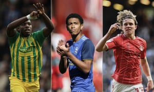 From left: Nathan Ferguson of West Bromwich Albion, Birmingham City's Jude Bellingham and Conor Gallagher of Charlton.