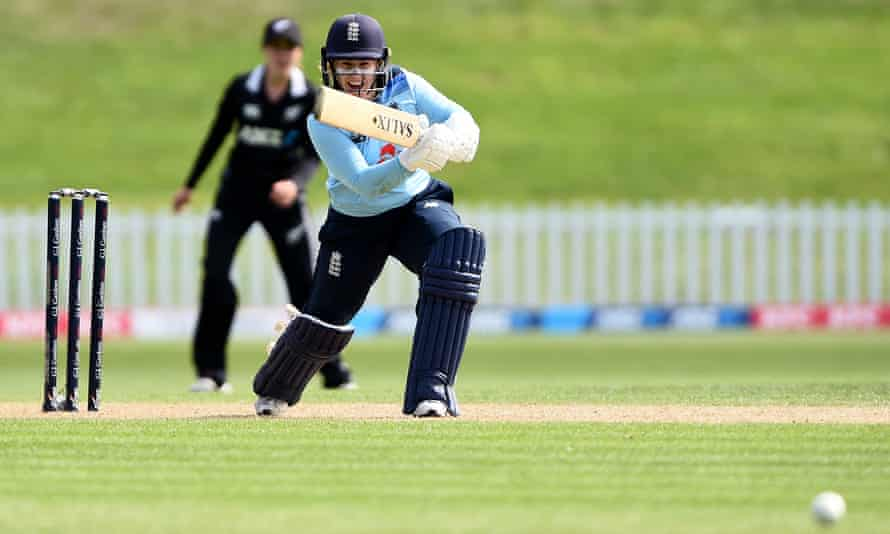 England's Tamsin Beaumont bats during game two of the one-day international series between New Zealand and England in Dunedin, New Zealand.