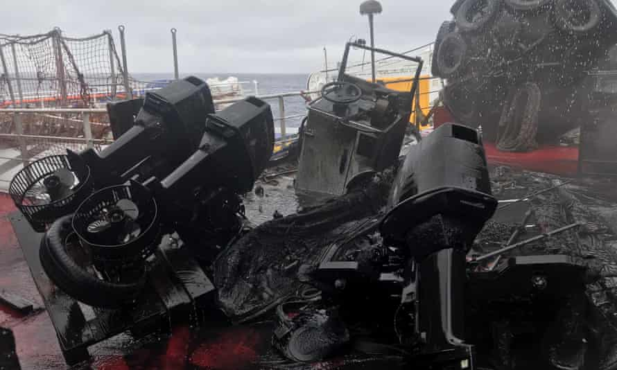 Damaged equipment on the MPV Everest after the fire