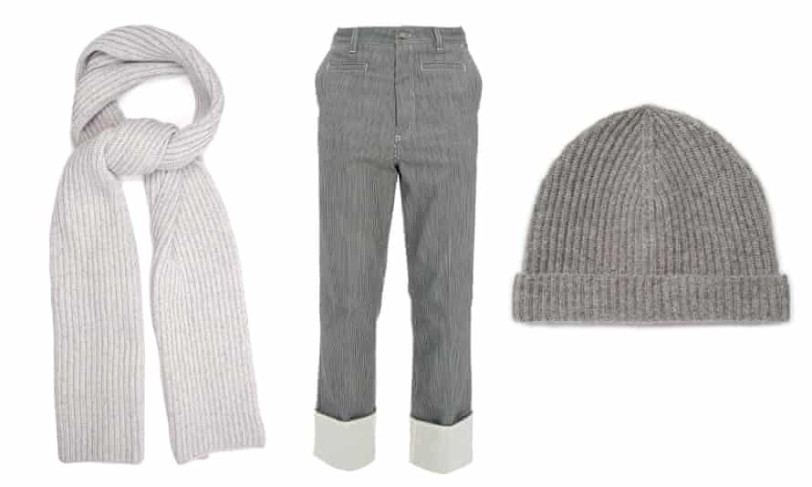 Get the Fisherman look: Scarf, £1,367 Baja East at matchesfashion.com; wader trousers, £595, Loewe at matchesfashion.com; Chunky fisherman-knit cashmere scarf £2,279 Fisherman Beanie, Asos, £22.00