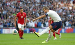 Harry Kane scores from the spot during England's 4-0 win over Bulgaria at Wembley Stadium.