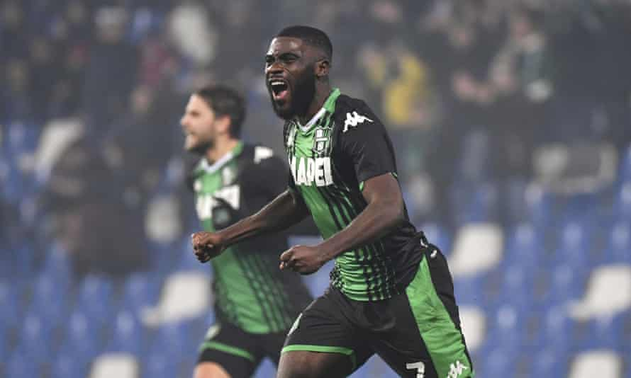 Sassuolo's Jérémie Boga celebrates after scoring against Roma in February