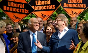 Vince Cable and Guy Verhofstadt attend an EU election campaign event in London