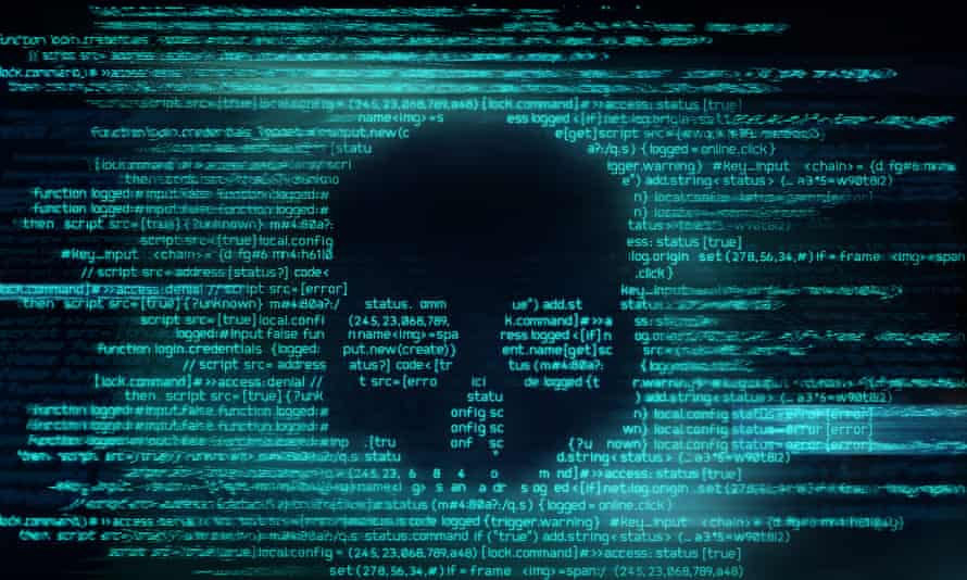 Malicious computer programming code in the shape of a skull