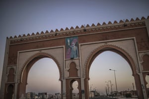 An archway in the entrance of Dakhla carries an image of Morocco's King Mohammed VI, in Western Sahara