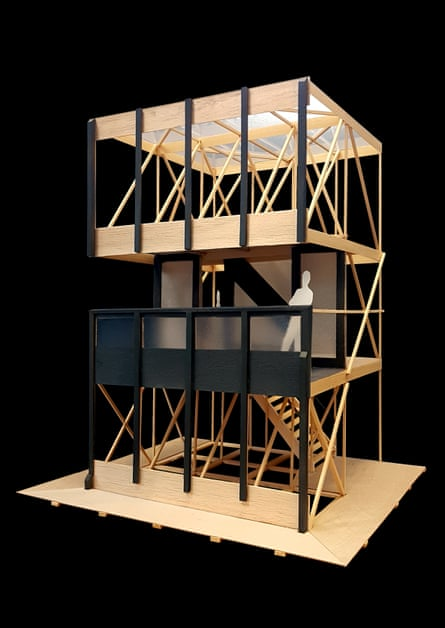 A model of the Robin Hood Gardens fragments as they will look supported by scaffolding