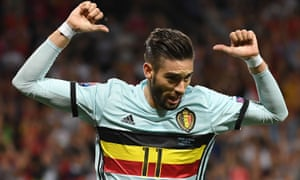 Yannick Carrasco points at the name on his shirt