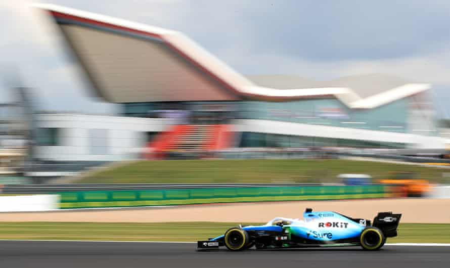 George Russell in action during practice at Silverstone.
